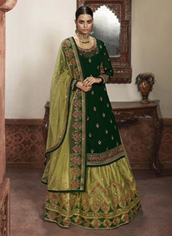 Wedding Wear Dark Green Embroidery Work Faux Georgette Lehenga Suit