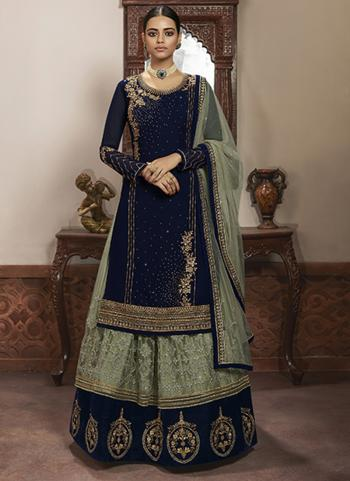 Wedding Wear Navy Blue Embroidery Work Faux Georgette Lehenga Suit