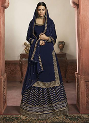 Wedding Wear Navy Blue Embroidery Work Rangoli Satin Lehenga Suit