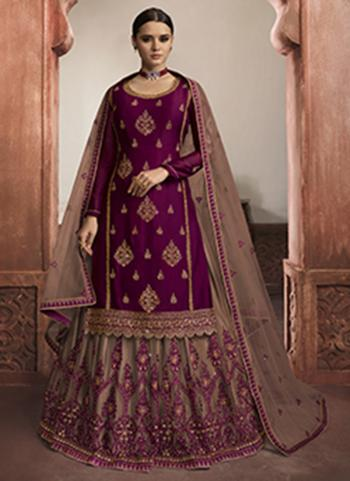 Wedding Wear Wine Embroidery Work Rangoli Satin Lehenga Suit