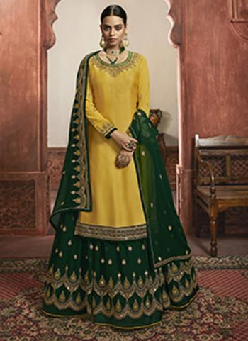Wedding Wear Yellow Embroidery Work Faux Georgette Lehenga Suit