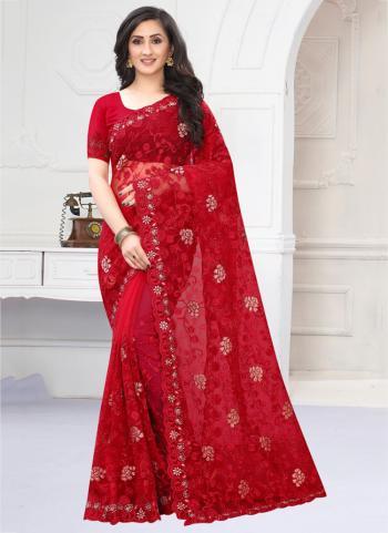 Wedding Wear Red Zarkan Work Net Saree