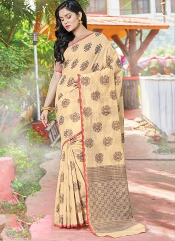 Traditional Wear Cream Weaving Handloom Cotton Saree