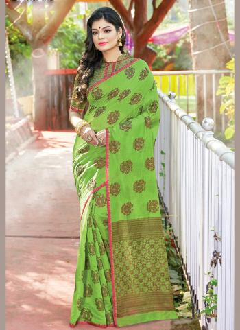 Traditional Wear Light Green Weaving Handloom Cotton Saree