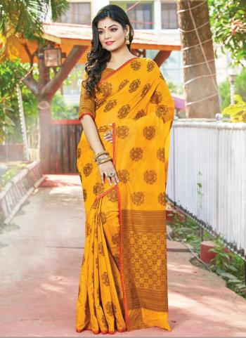 Traditional Wear Yellow Weaving Handloom Cotton Saree