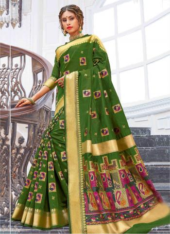 Party Wear Dark Green Weaving Pure Chanderi Cotton Saree
