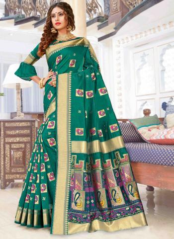 Party Wear Green Weaving Pure Chanderi Cotton Saree