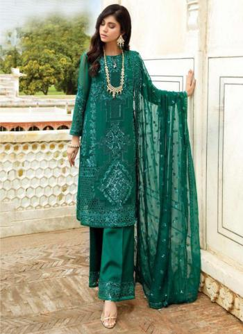 Festival Wear Green Embroidery Work Georgette Pakistani Suit