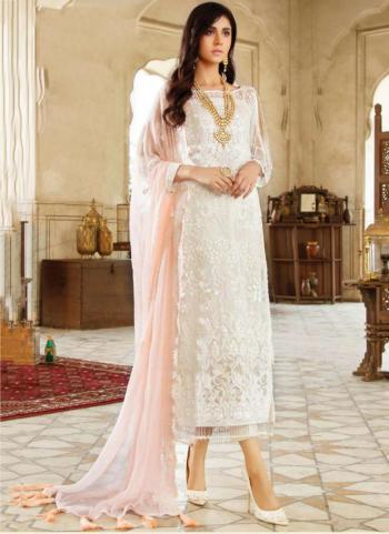 Festival Wear White Embroidery Work Georgette Pakistani Suit