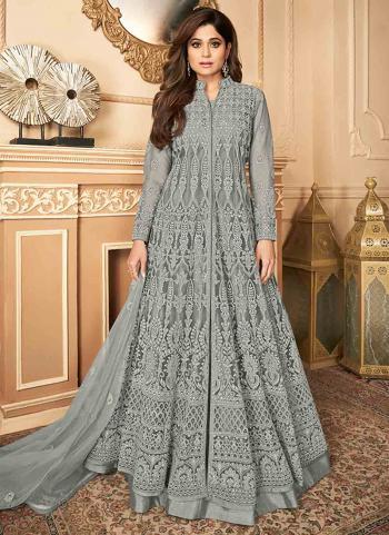 Wedding Wear Grey Embroidery Work Net Abaya Suit