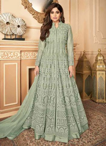 Wedding Wear Light Green Embroidery Work Net Anarkali Suit