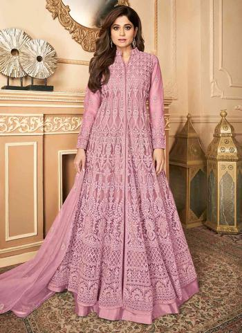 Wedding Wear Pink Embroidery Work Net Anarkali Suit