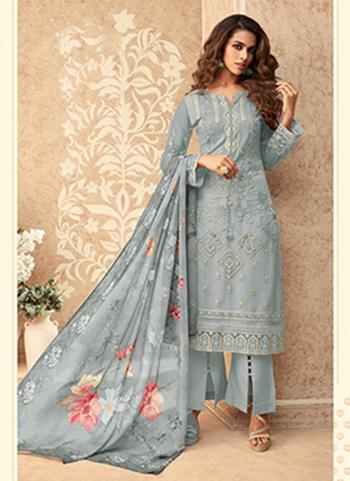 Party Wear Grey Embroidery Work Net Palazzo Suit