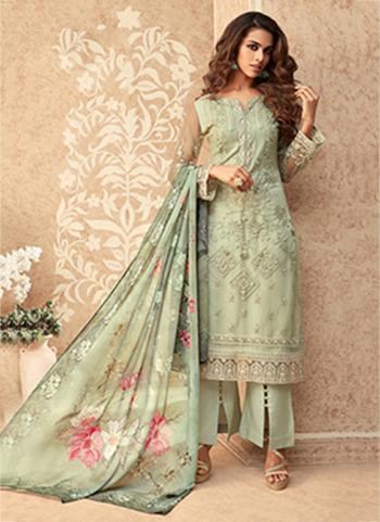 Party Wear Light Green Embroidery Work Net Palazzo Suit