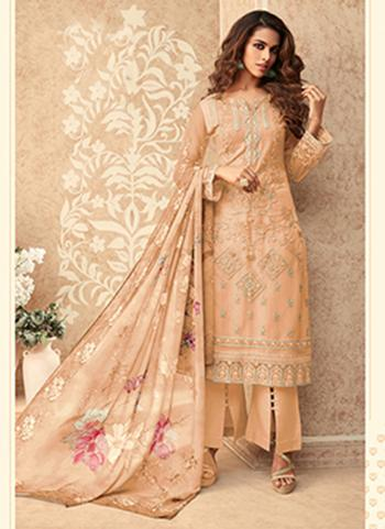 Party Wear Peach Embroidery Work Net Palazzo Suit