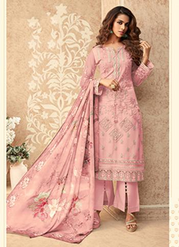 Party Wear Pink Embroidery Work Net Palazzo Suit