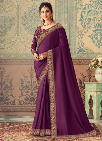 Party Wear Purple Border Work Vichitra Silk Saree