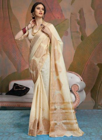 Party Wear Cream Weaving Linen Saree