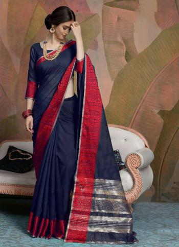 Party Wear Navy Blue Weaving Linen Saree