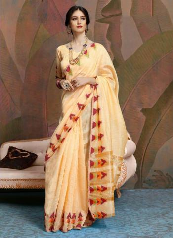 Party Wear Peach Weaving Linen Saree
