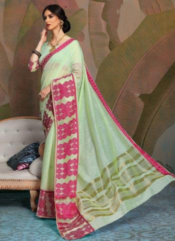 Party Wear Sea Green Weaving Linen Saree