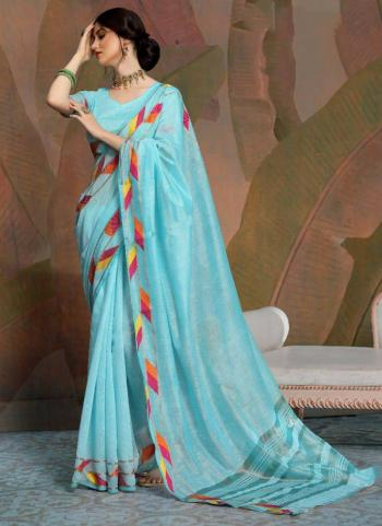 Party Wear Sky Blue Weaving Linen Saree