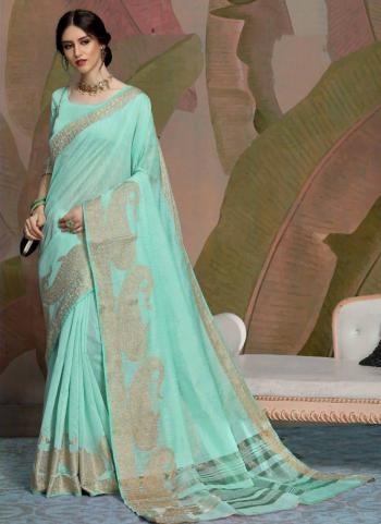 Party Wear Teal Blue Weaving Linen Saree