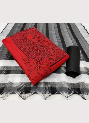 Casual Wear Red Embroidery Work Slub Cotton Salwar Suit
