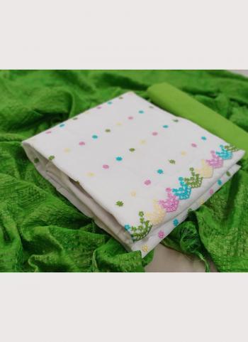 Casual Wear Green Embroidery Work Chanderi Modal Salwar Suit