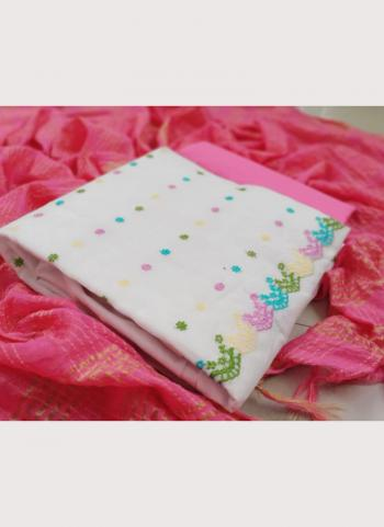 Casual Wear Pink Embroidery Work Chanderi Modal Salwar Suit