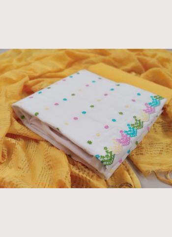Casual Wear Yellow Embroidery Work Chanderi Modal Salwar Suit