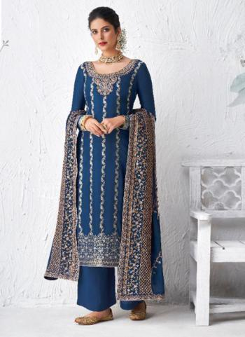 Festival Wear Blue Embroidery Work Dola Silk Palazzo Suit