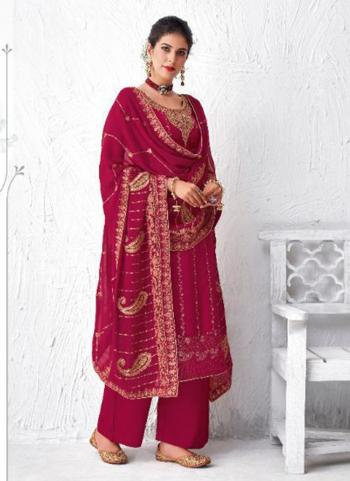 Festival Wear Dark Pink Embroidery Work Dola Silk Palazzo Suit