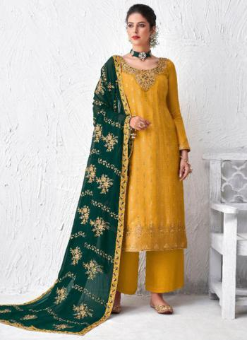Festival Wear Yellow Embroidery Work Dola Silk Palazzo Suit