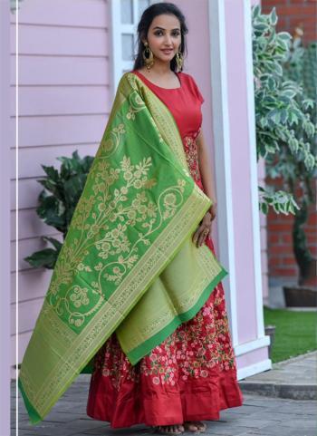 Party Wear Maroon Hand Work Silk Gown