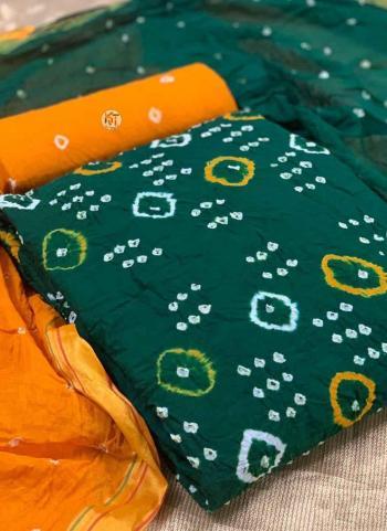 Regular Wear Orange Printed Work Pure Cotton Dress Material