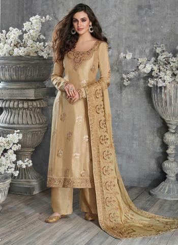 Festival Wear Beige Embroidery Work Pure Dola Silk Palazzo Suit