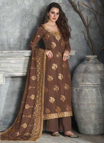 Festival Wear Brown Embroidery Work Pure Dola Silk Palazzo Suit