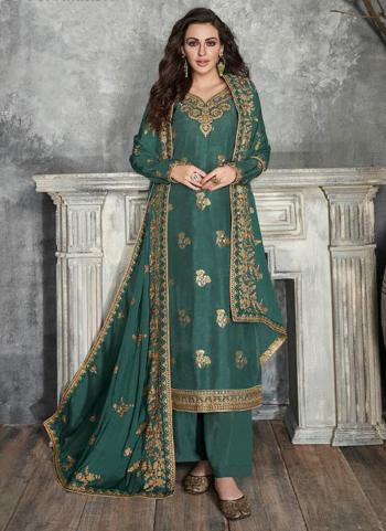 Festival Wear Green Embroidery Work Pure Dola Silk Palazzo Suit