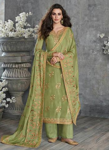 Festival Wear Light Green Embroidery Work Pure Dola Silk Palazzo Suit