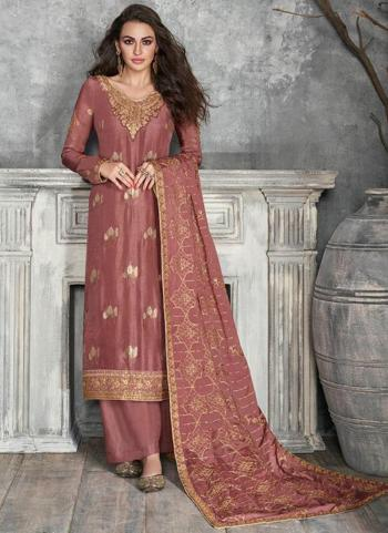 Festival Wear Pink Embroidery Work Pure Dola Silk Palazzo Suit