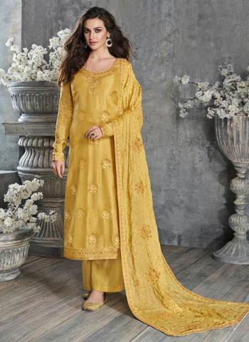 Festival Wear Yellow Embroidery Work Pure Dola Silk Palazzo Suit