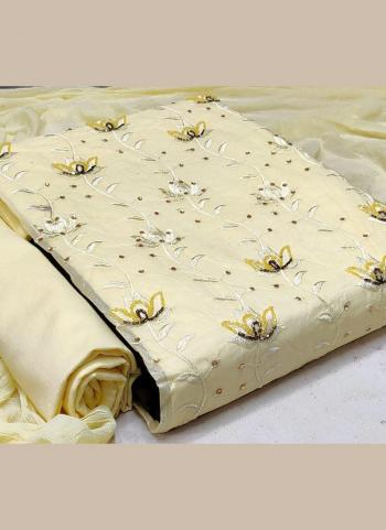 Casual Wear Cream Hand Work Cotton Dress Material
