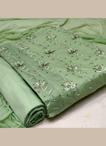 Casual Wear Green Hand Work Cotton Dress Material