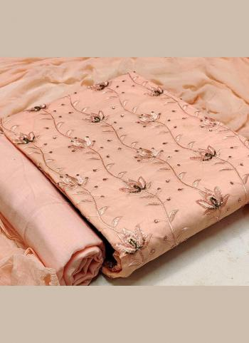 Casual Wear Peach Hand Work Cotton Dress Material