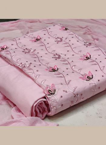 Casual Wear Pink Hand Work Cotton Dress Material
