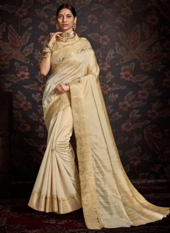 Party Wear Beige Weaving Aasam Silk Saree