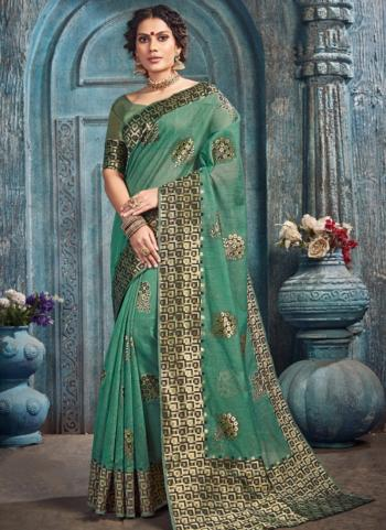 Festival Wear Green Weaving Spun Kota Saree