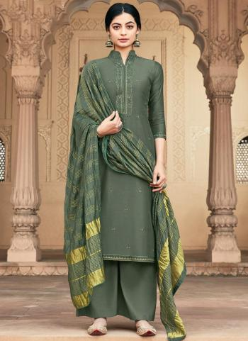 Traditional Wear Grey Embroidery Work Muslin Palazzo Suit