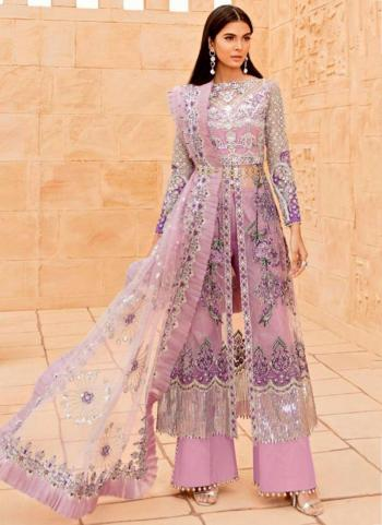 Festival Wear Pink Embroidery Work Butterfly Net Pakistani Suit